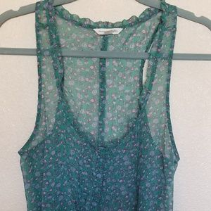 AEO low cut sheer floral tank